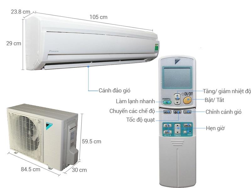 Thông số kỹ thuật của máy lạnh nội địa Daikin 2HP